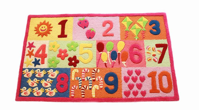 Littlelooms Pink Numbers Kids Rug