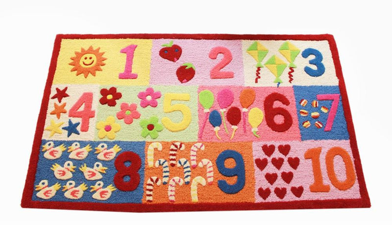 Littlelooms Red Numbers Kids Rug