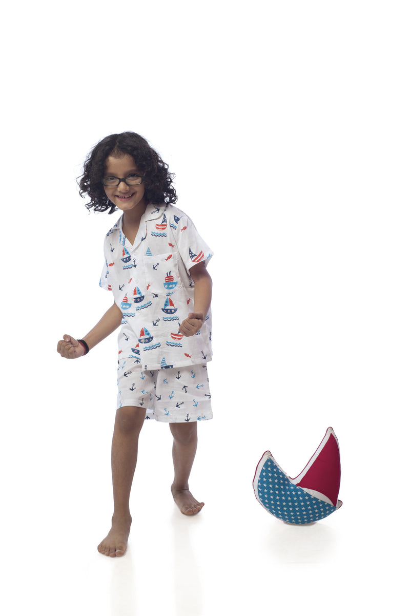 Popsicle & Nigh Nigh Girls White and Blue Boat Printed Shirt and Shorts Set