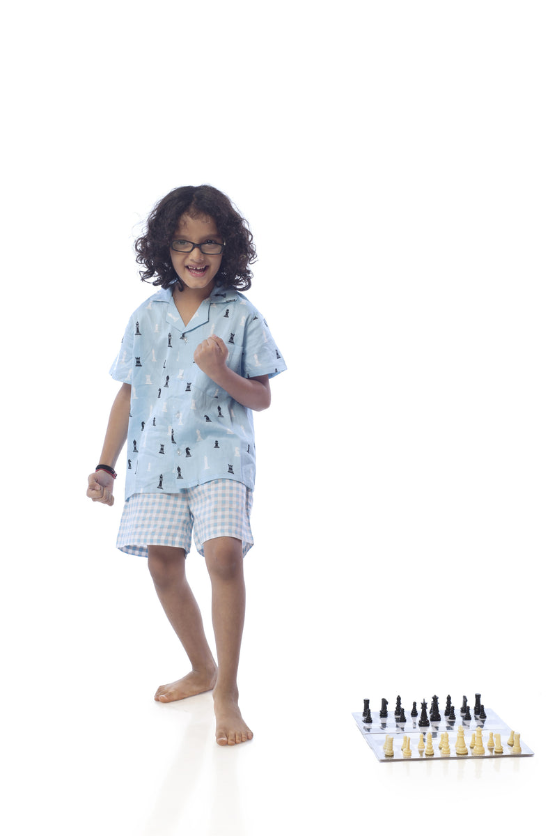 Popsicle & Nigh Nigh Girls Blue Chess Printed Shirt and Shorts Set