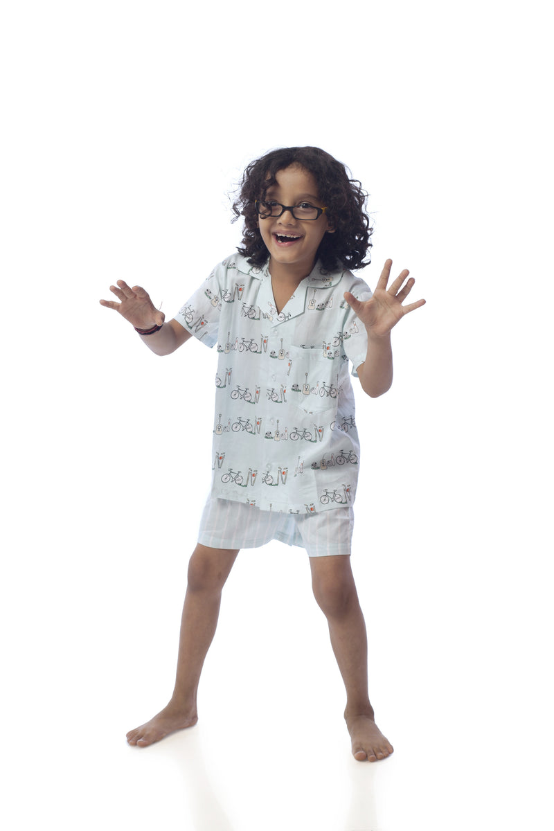 Popsicle & Nigh Nigh Girls Light Blue Cycle Printed Shirt and Shorts Set