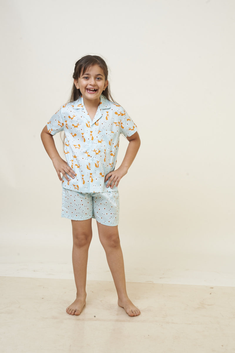 Popsicle & Nigh Nigh Girls Blue and Orange Fox Printed Shirt and Shorts Set