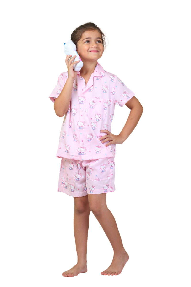 Popsicle & Nigh Nigh Girls Pink Hello Kitty Printed Shirt and Shorts Set