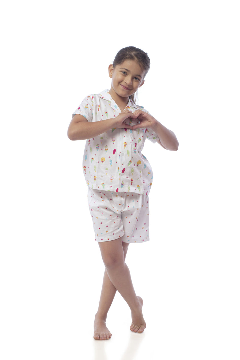 Popsicle & Nigh Nigh Girls White Ice Cream Printed Shirt and Shorts Set