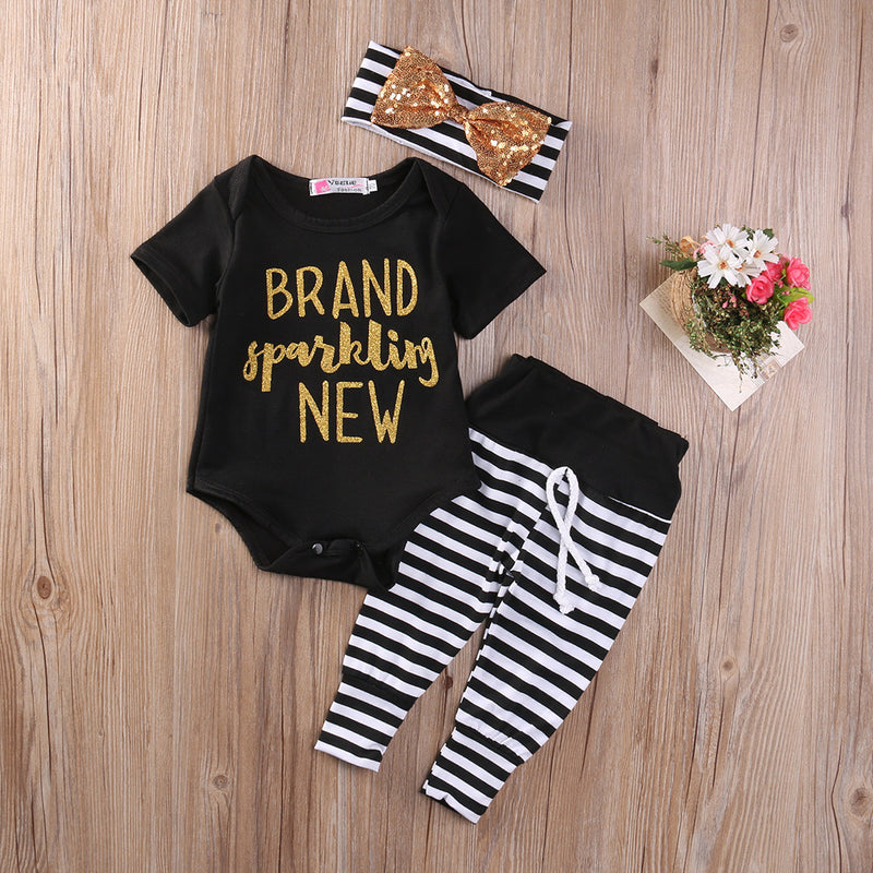 Meemu Girls' Black and White Brand Sparkling New Printed Party Wear Onesie Set