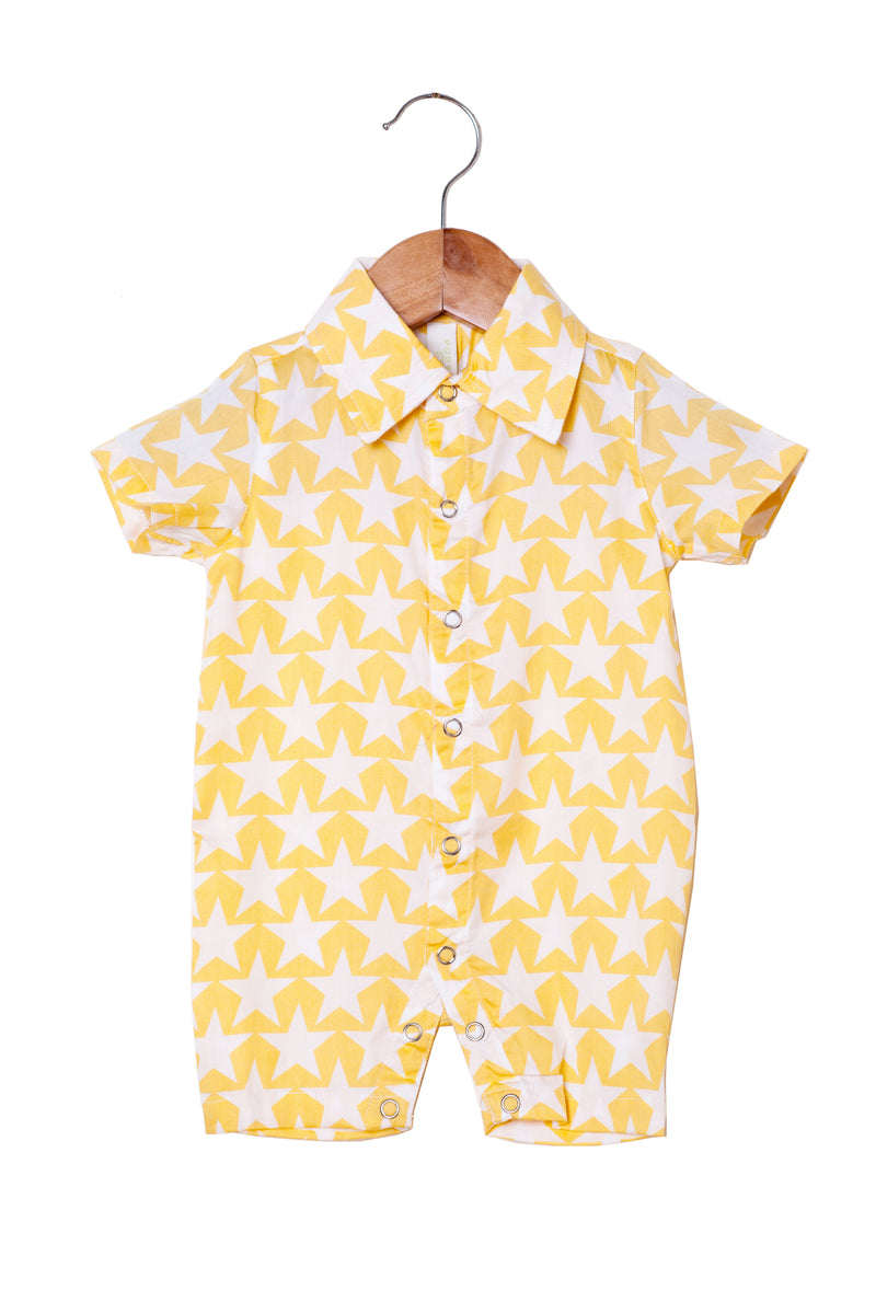 Popsicle & Nigh Nigh Boys Gold and White Star Printed Rompers