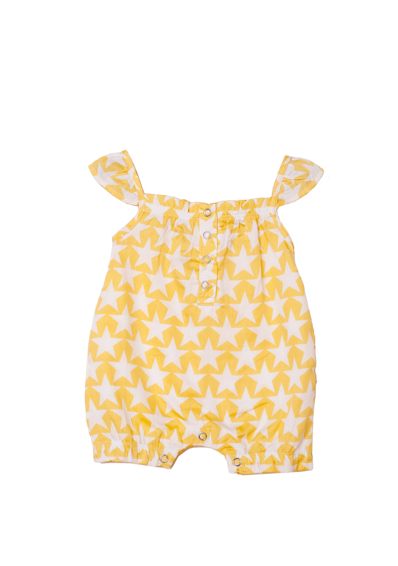 Popsicle & Nigh Nigh Girls Gold and White Star Printed Rompers