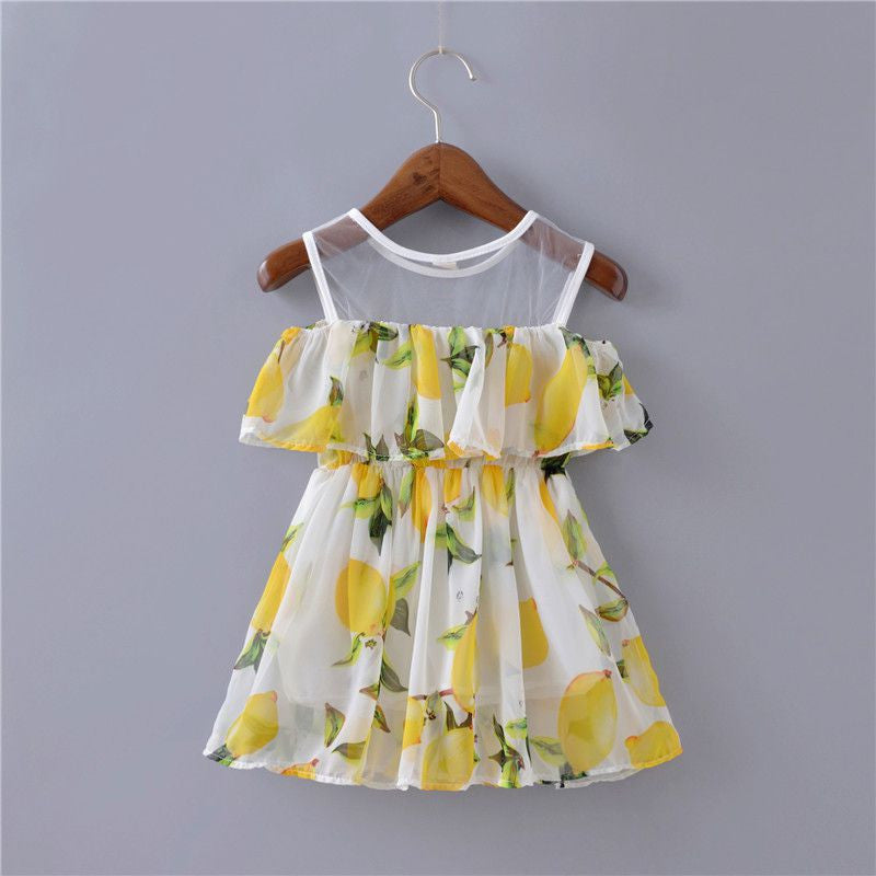 Meemu Girls' White and Yellow Linda Lemon Printed Dress