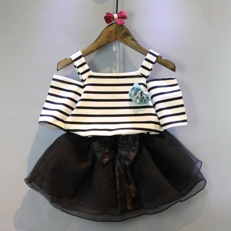 Meemu Girls' Black and White Striped Top with Cold Shoulder Dress