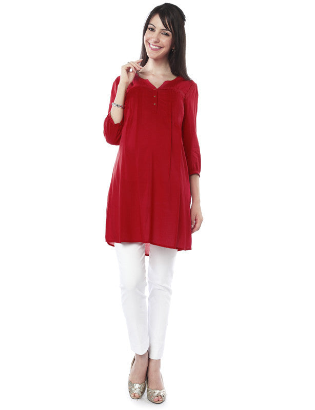 Nine Maternity Red Modal Styled Tunic
