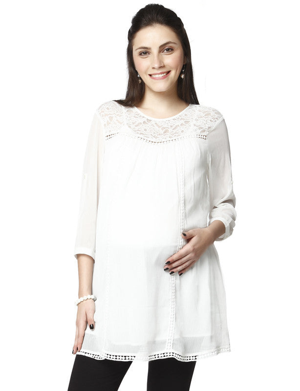 Nine Maternity White Yoke and Hem Tunic