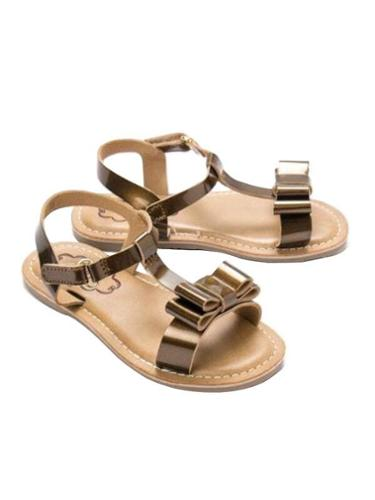 Cujos Barcelon T-Strap With Double Bow Sandals - Copper