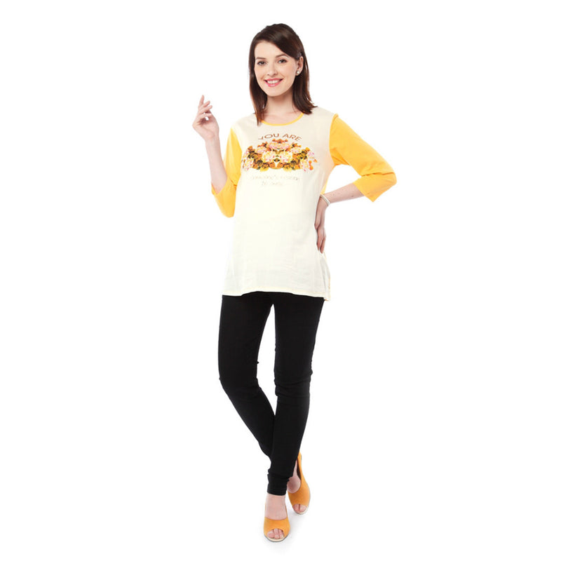 Nine Maternity Yellow and White Slogan Printed Tee