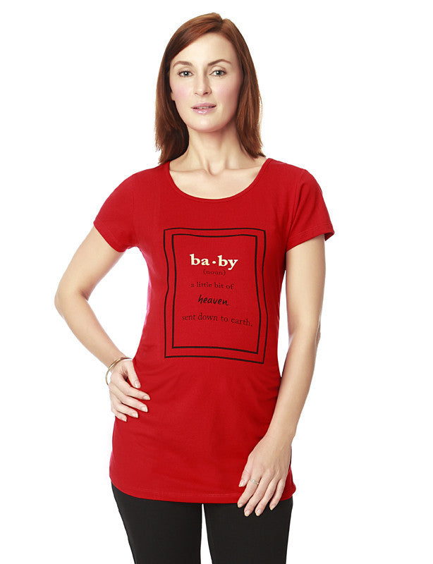 Nine Maternity Red Baby Meaning Tee