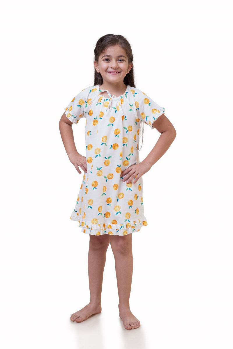 Popsicle & Nigh Nigh Girls White and Orange Tangerine Printed Nighty