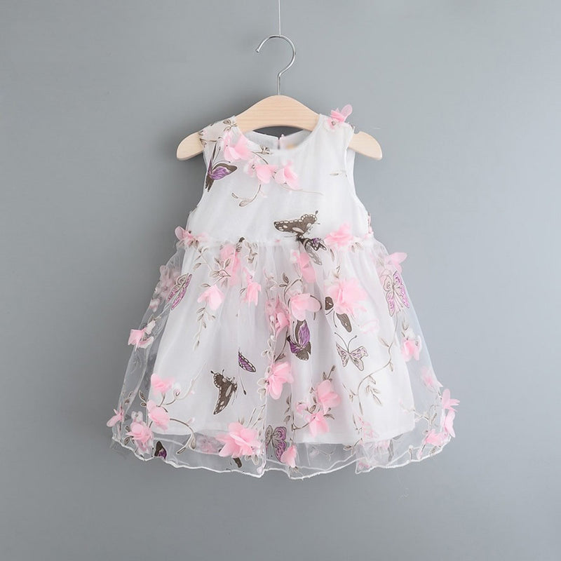 Meemu Girls' Pink and White Butterfly Princess Dress