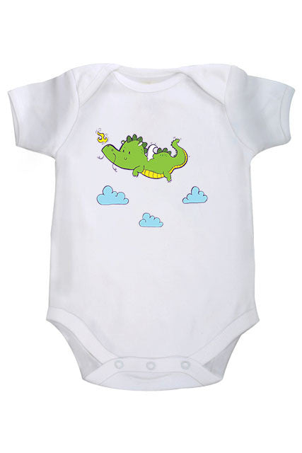 Zeezeezoo Kids White The Lucky Dragon Printed Onesie