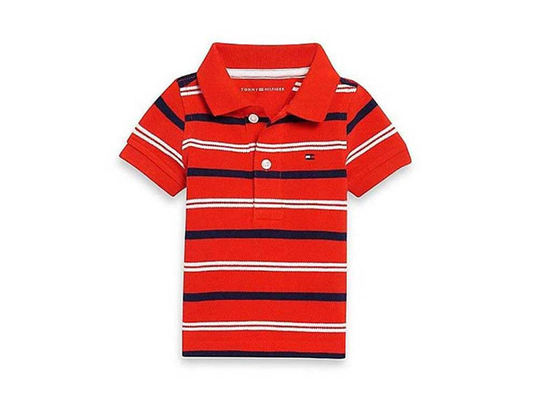Tommy Hilfiger Little Boy's Flame Scarlet-Stripe Polo