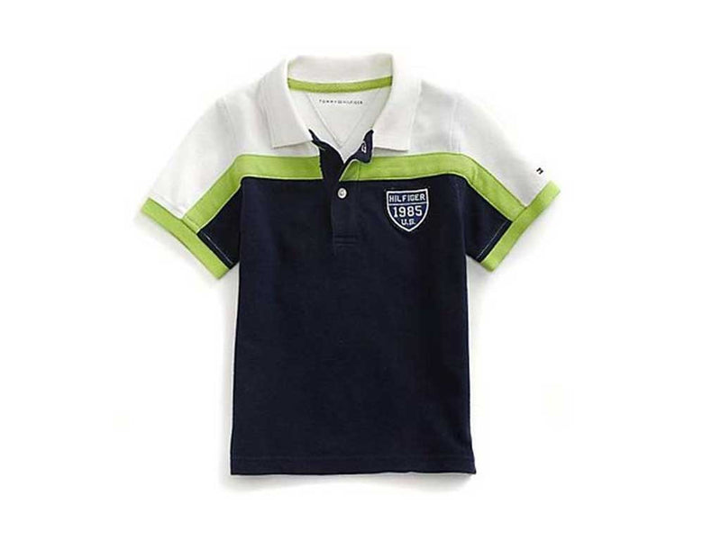 Tommy Hilfiger Little Boy's Peacoat Colorblocked Crested Polo