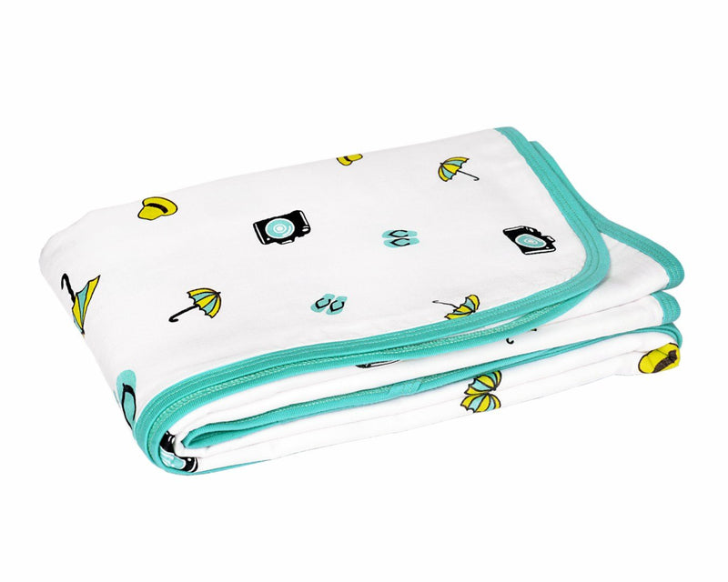 Wonder Wee 100% Cotton Mul (Muslin) Baby Blanket - Turquoise Travel