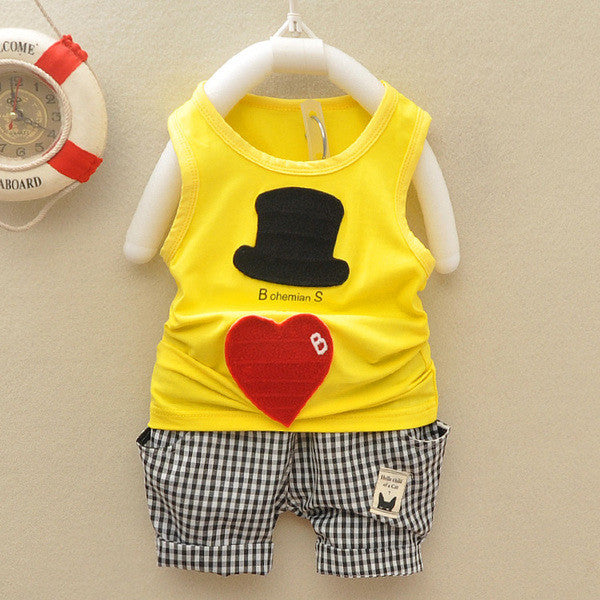 Urb n Angels Yellow Bohemian Man Print T-shirt and Bottoms Summer Set for Boys