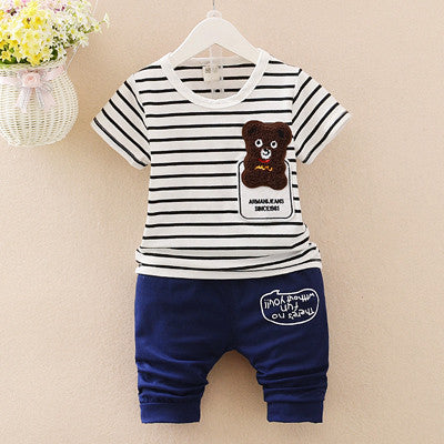 Urb n Angels White and Navy Striped Teddy Patched T-shirt and Bottoms Summer Set for Boys