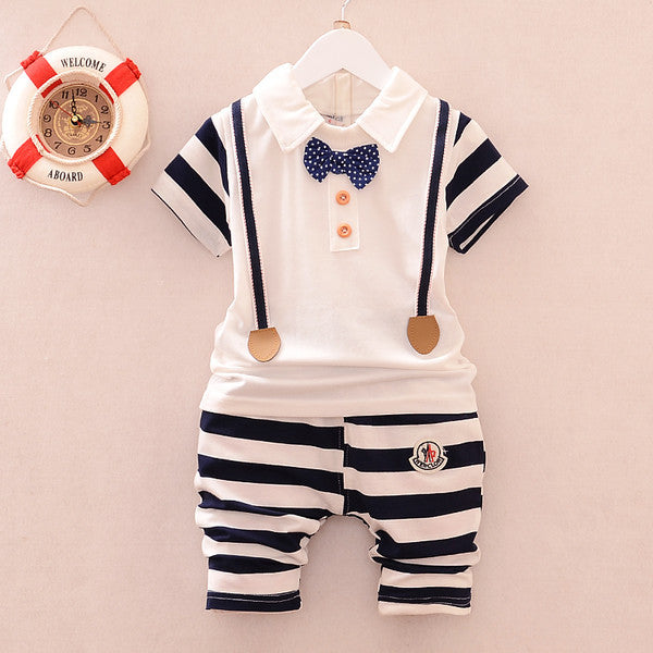 Urb n Angels Black and White Stripe Print Tee and Bottoms with Bow Summer Set for Boys