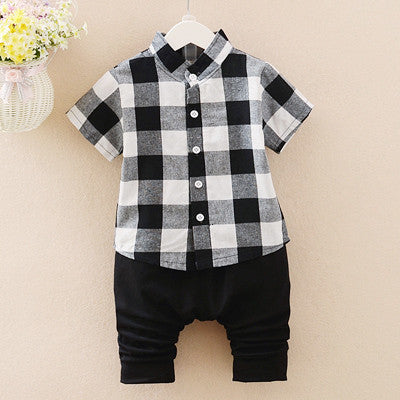 Urb n Angels Black and White Checkered Shirt and Pants Summer Set for Boys