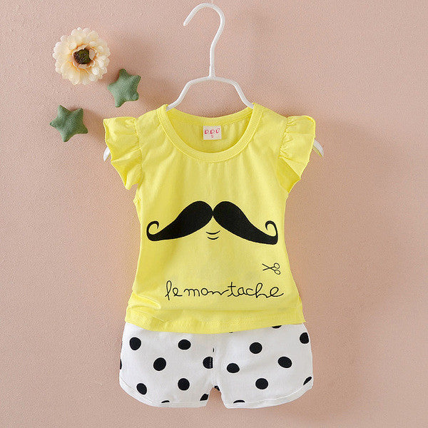 Urb n Angels Yellow and White Moustache Printed Tee and Shorts for Girls