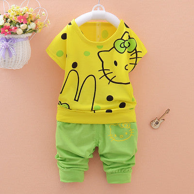 Urb n Angels Yellow and Green Hello Kitty Printed Tee and Shorts for Girls