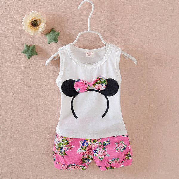 Urb n Angels White and Pink Minnie Mouse Floral Bow Patched Tee and Shorts for Girls