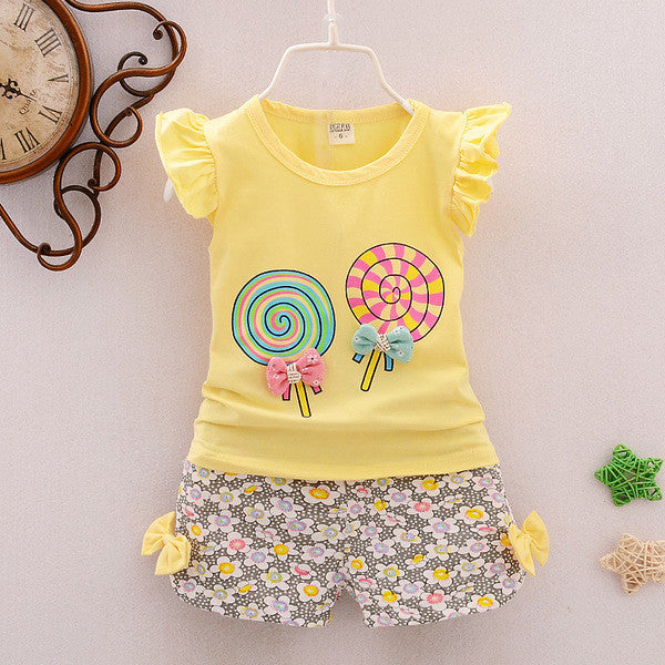 Urb n Angels Yellow Cute Tee and Shorts for Girls