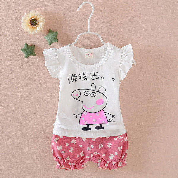 Urb n Angels White and Pink Peppa Pig Printed Tee and Shorts for Girls