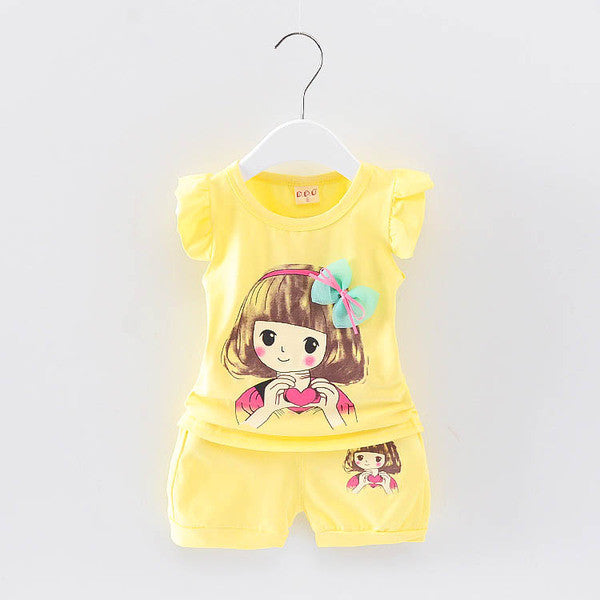 Urb n Angels Yellow Girl with a Heart Printed Tee and Shorts for Girls