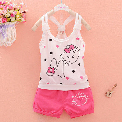 Urb n Angels White and Pink Hello Kitty Tee and Shorts for Girls