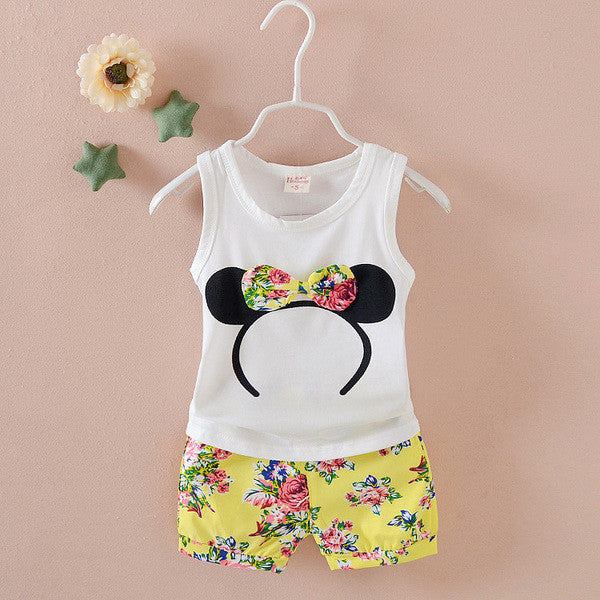Urb n Angels White and Yellow Minnie Mouse Floral Bow Patched Tee and Shorts for Girls