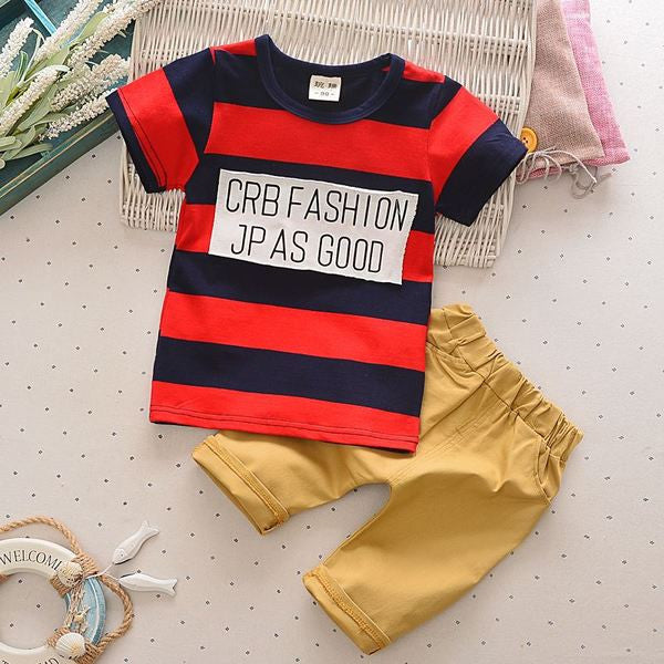 Urb n Angels Red and Black Striped and Patched T-shirt and Bottoms Set for Boys