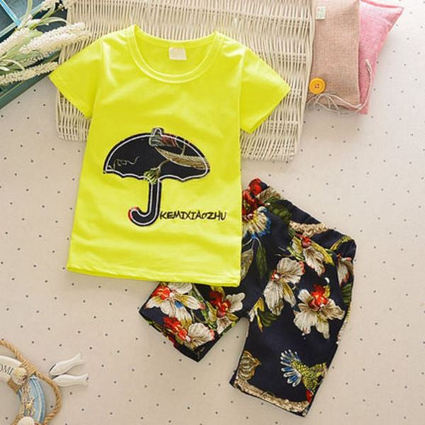 Urb n Angels Yellow and Blue Umbrella Printed T-shirt and Bottoms Set for Boys