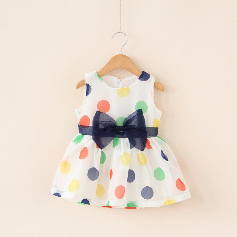 Meemu Girls' Polka Baby Bow Dress