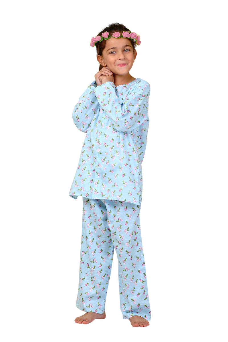 Popsicle & Nigh Nigh Girls Blue Vintage Rose Printed Night Wear