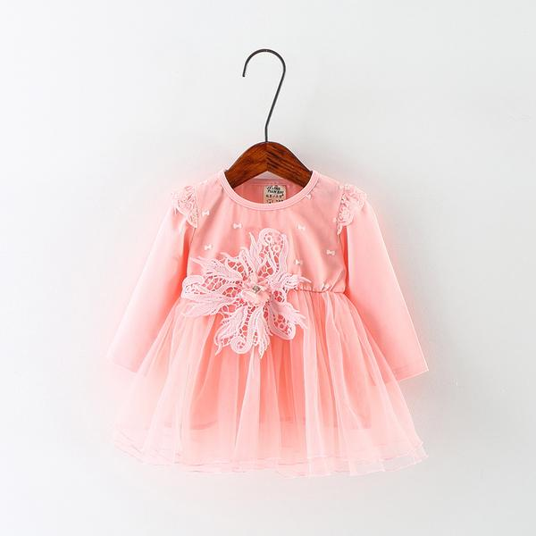 Urb N Angels Cute Little Peach Netted Floral and Bow Accented Dress