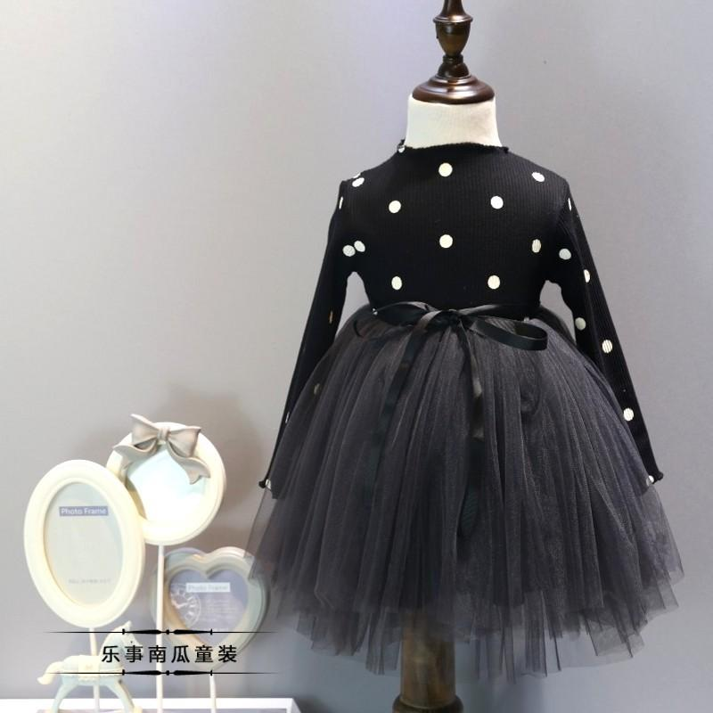 Urb N Angels Black Frill Polka Dress