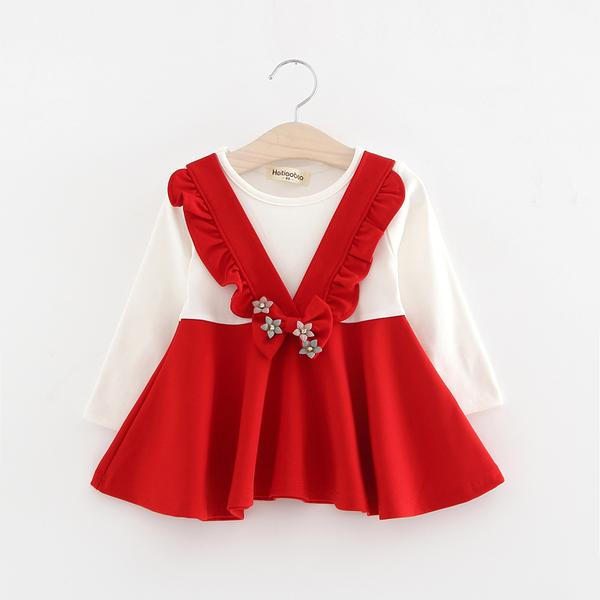 Urb N Angels Cute Little White and Red Bow Accented Dress