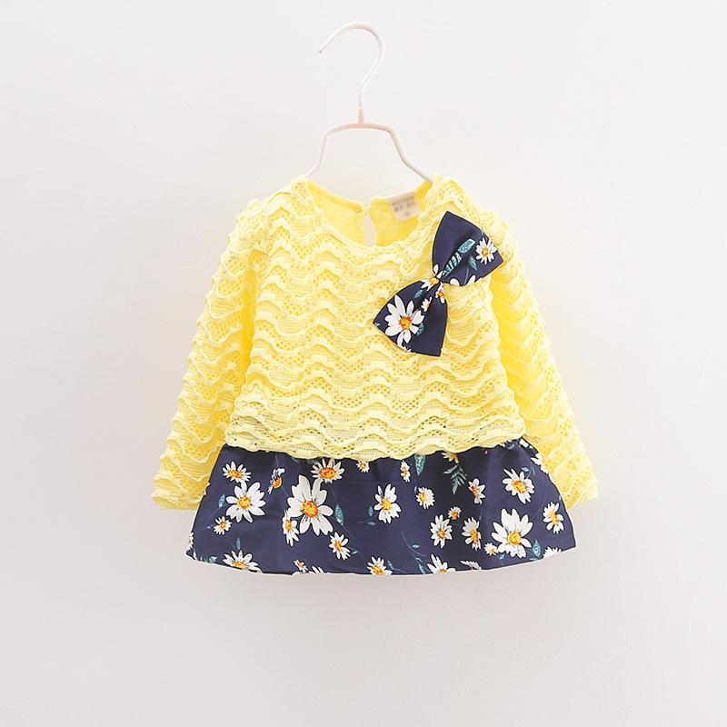 Urb N Angels Yellow and Blue Short Bow Dress