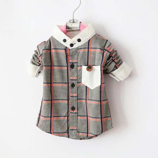 Urb N Angels Grey Plaid Collar Shirt for Boys