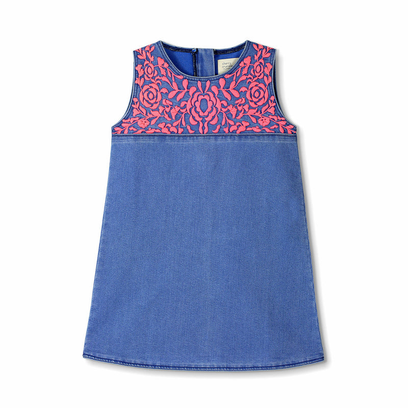 Cherry Crumble California Blue and Pink Embroidered Denim Dress