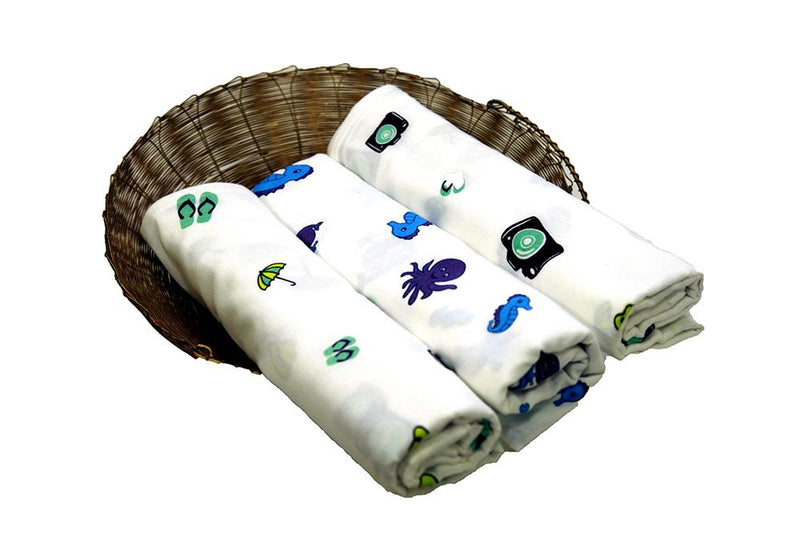 Wonder Wee 100% Indian Muslin Baby Swaddle - Pack of 3
