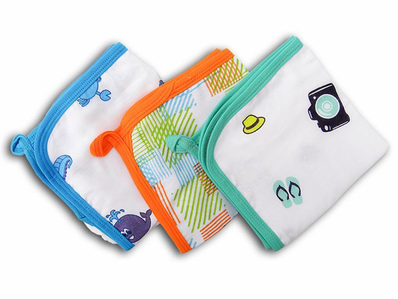 Wonder Wee Muslin Baby Washcloth - Turquoise Travel/Orange Square Lines/Blue Sea Animals