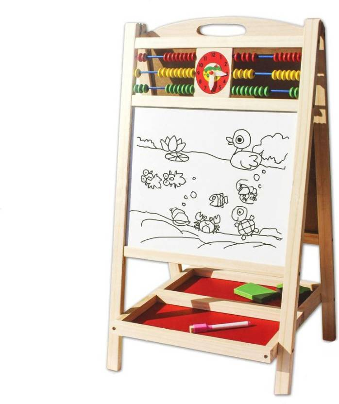 Munchkinz Double Sided Writing Magnetic and Black Board with Abacus and Wooden Sturdy Stand