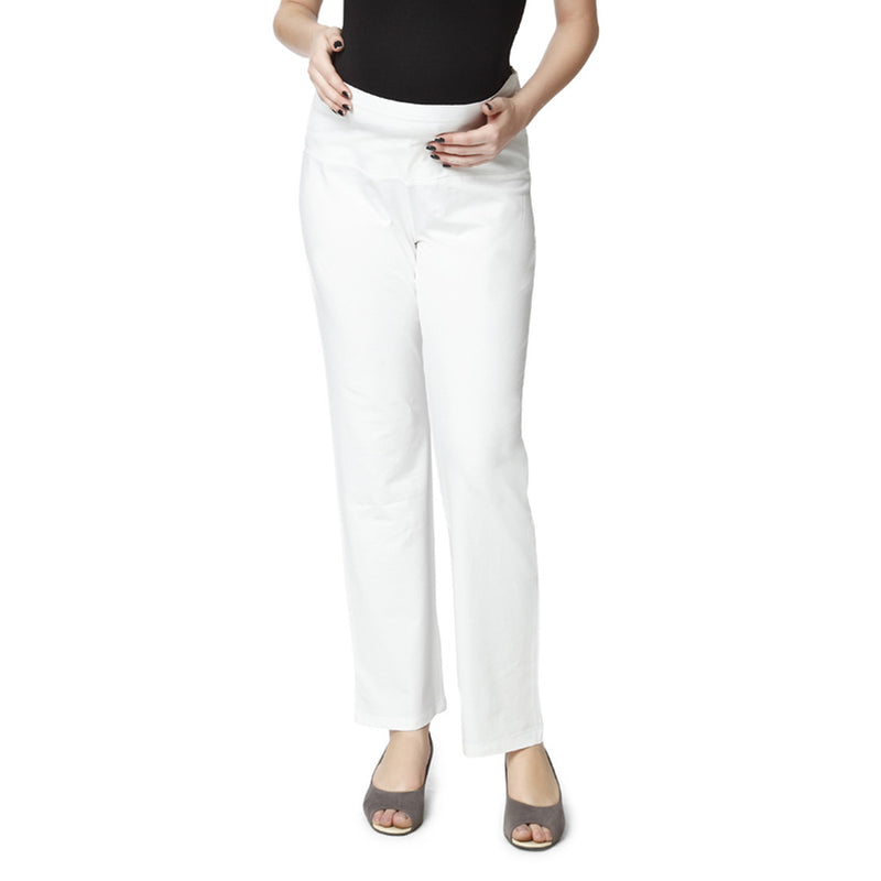 Nine Maternity White Super Comfy Fold Over Jersey Pants